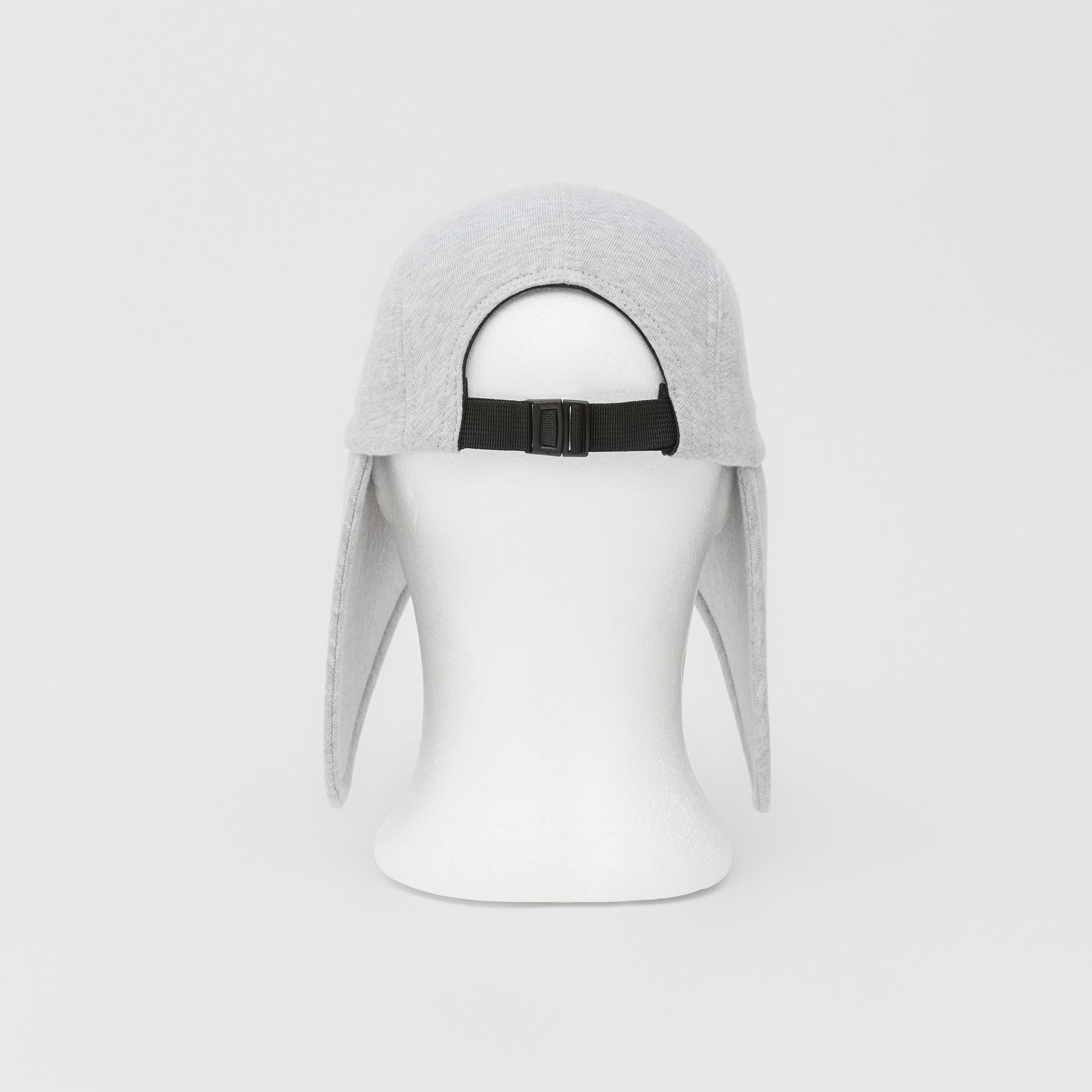Logo Appliqué Cotton Jersey Bonnet Cap in Light Pebble Grey | Burberry - gallery image 6