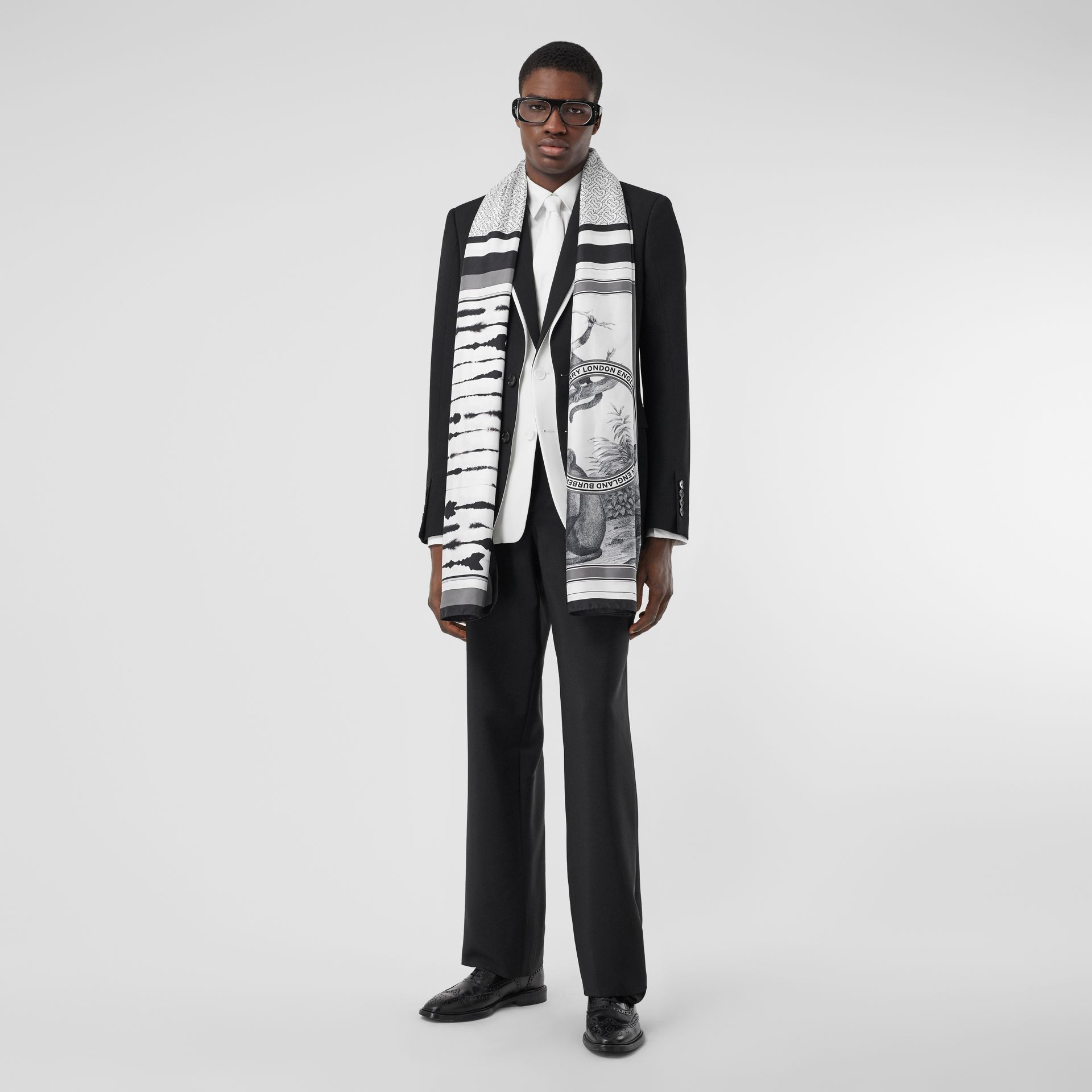 Montage Print Silk Scarf in Monochrome | Burberry United States - gallery image 7