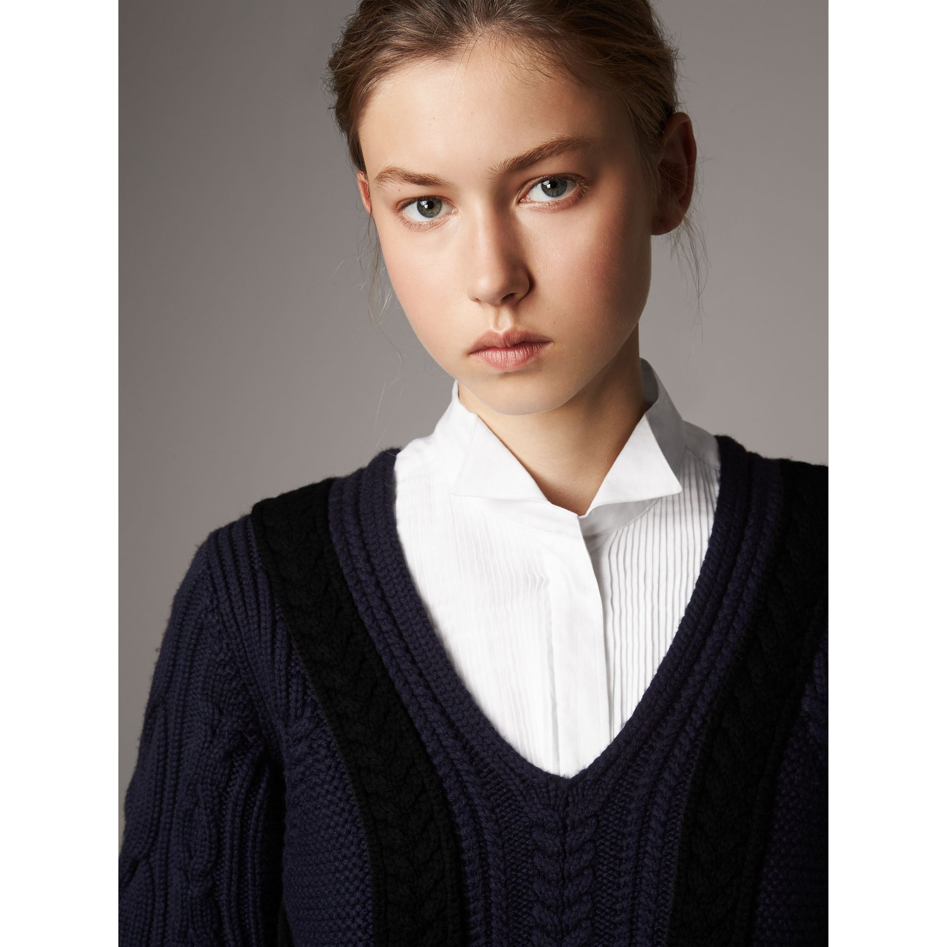 Cable Knit Wool Cashmere Sweater Dress in Navy - Women | Burberry - gallery image 2