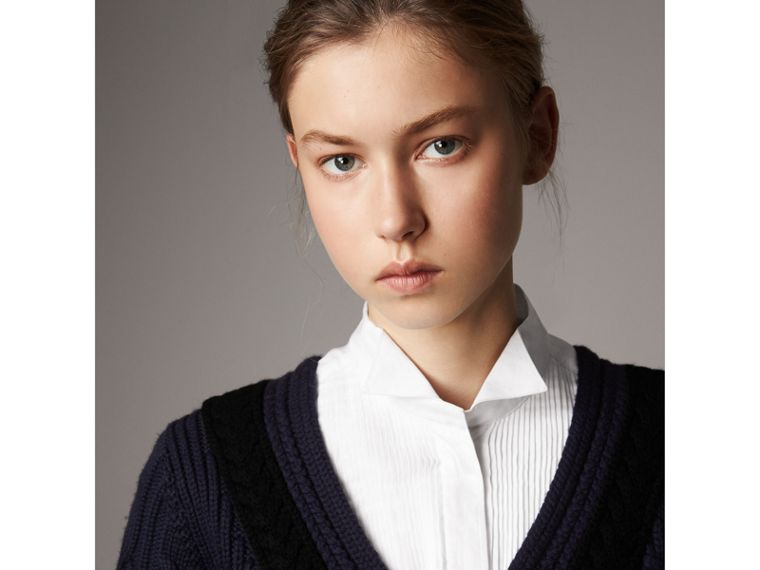 Cable Knit Wool Cashmere Sweater Dress in Navy - Women | Burberry - cell image 1