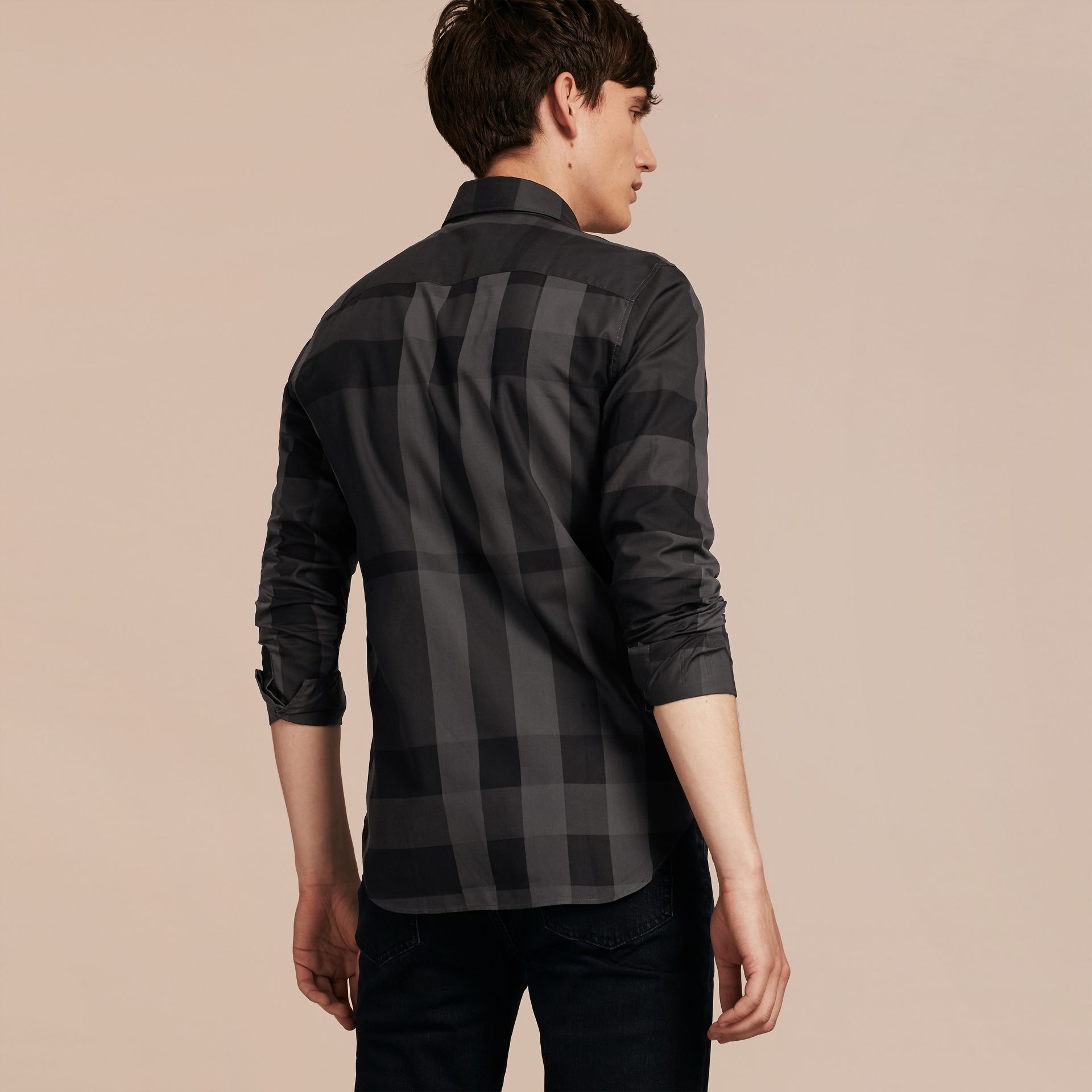 Charcoal Check Cotton Shirt Charcoal - gallery image 3