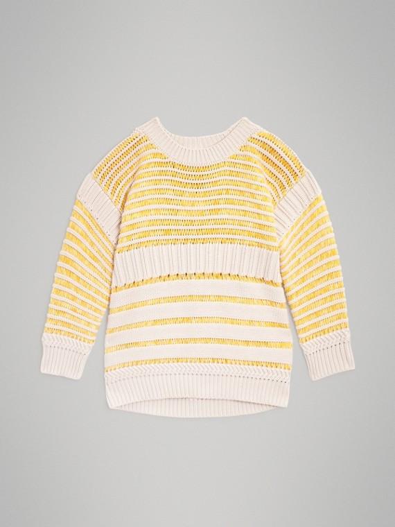 Jersey de punto acanalado en algodón (Amarillo Intenso)