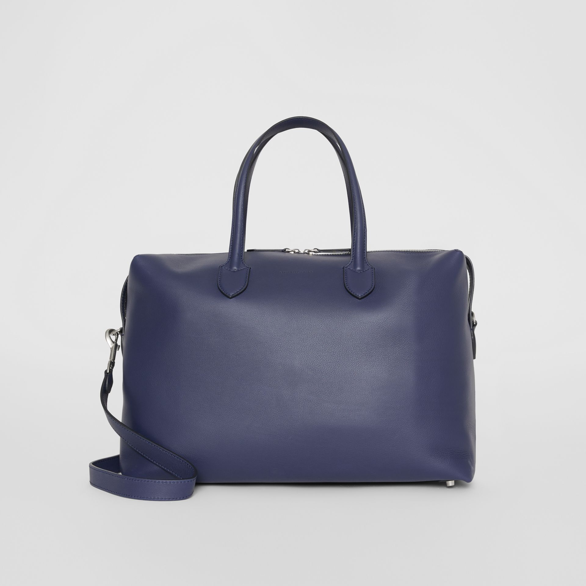 Soft Leather Holdall in Regency Blue - Men | Burberry - gallery image 0
