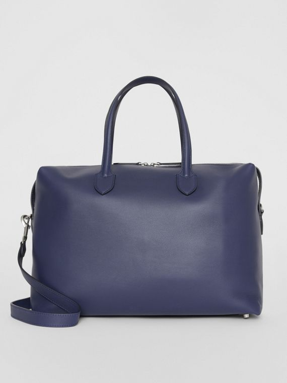 Soft Leather Holdall in Regency Blue