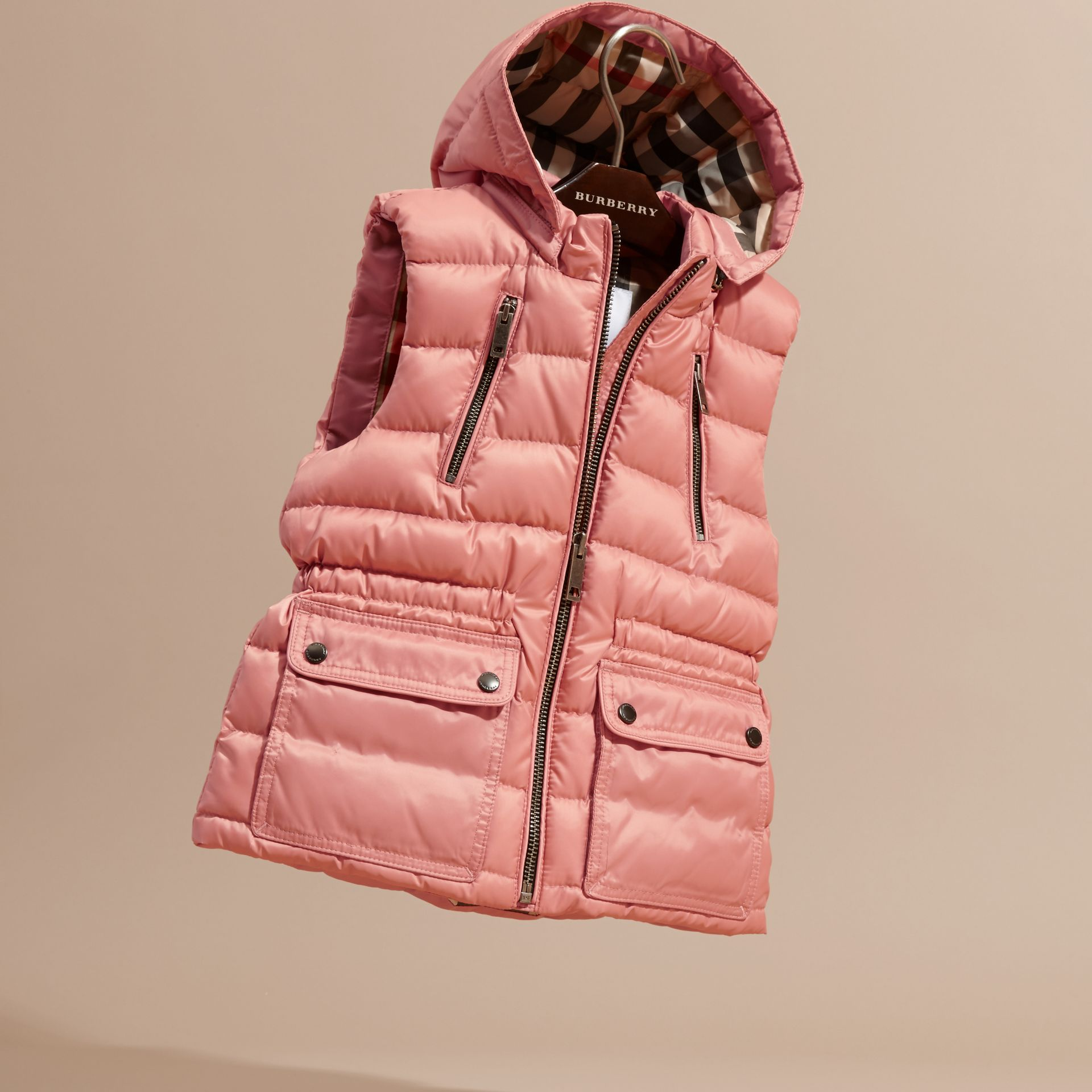 Hooded Down-filled Gilet Light Copper Pink - gallery image 3