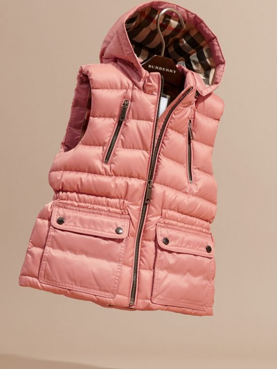 Light copper pink Hooded Down-filled Gilet Light Copper Pink - cell image 2
