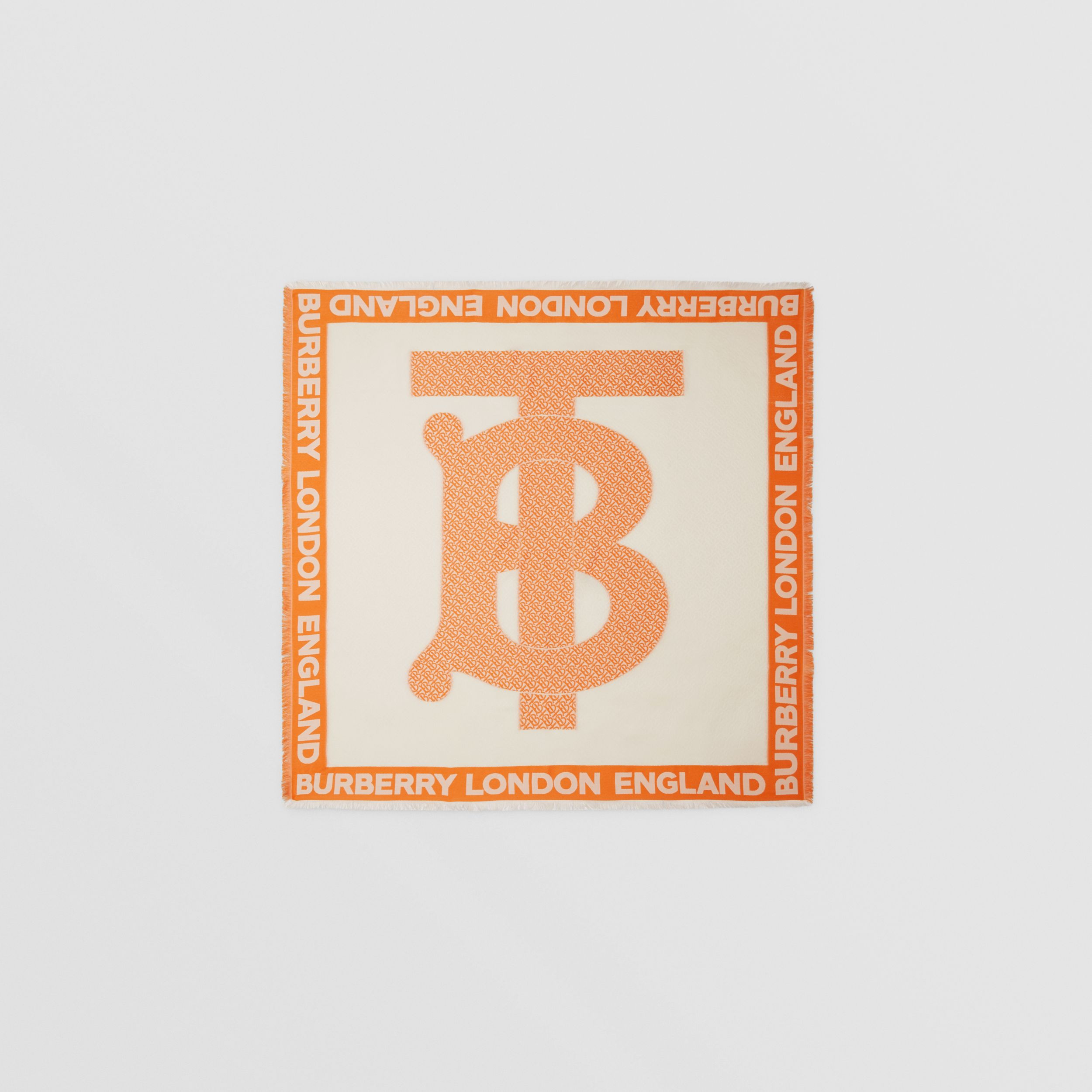 Monogram Fil Coupé Silk Blend Large Square Scarf in Orange | Burberry - 1