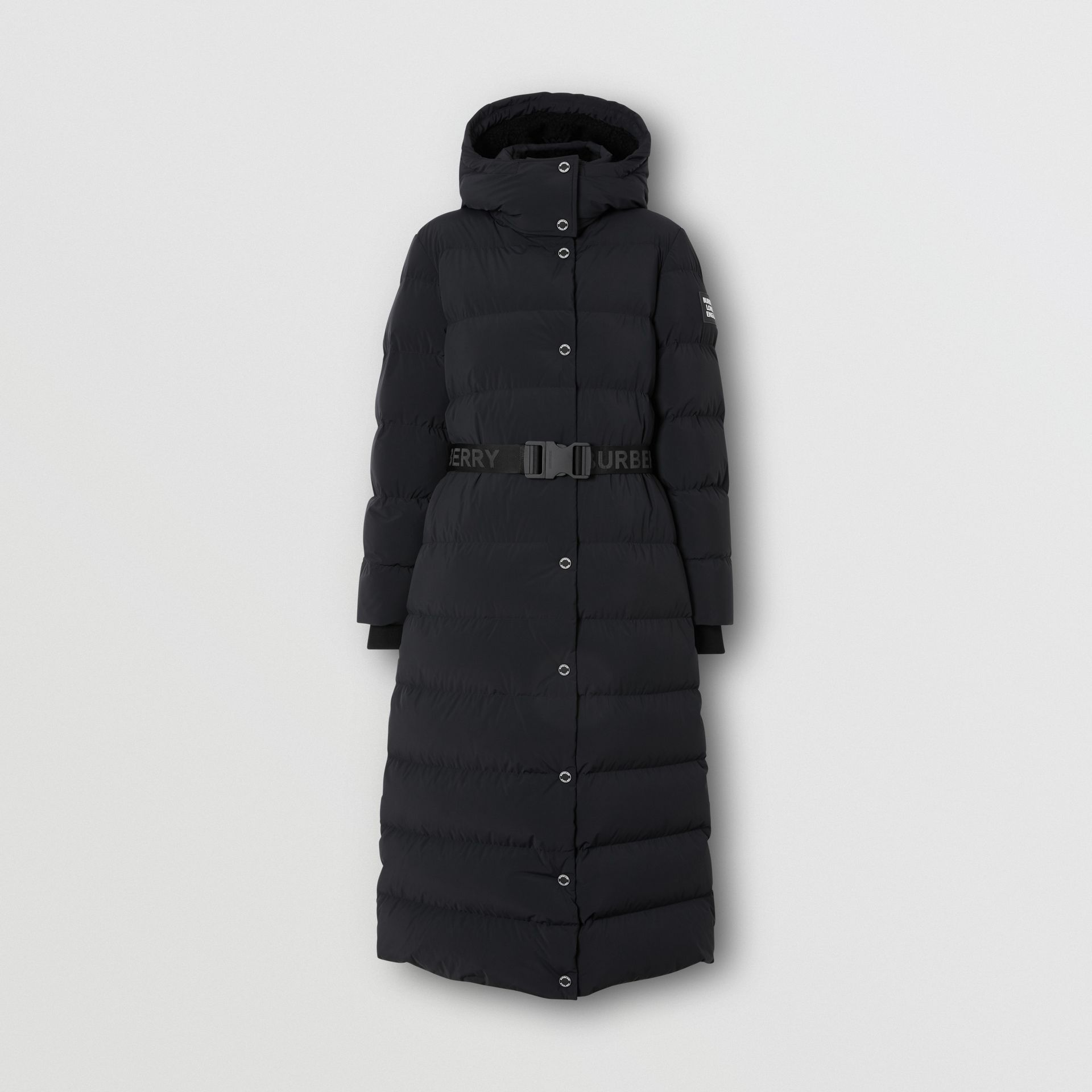 Detachable Hood Belted Puffer Coat in Black - Women | Burberry - gallery image 3