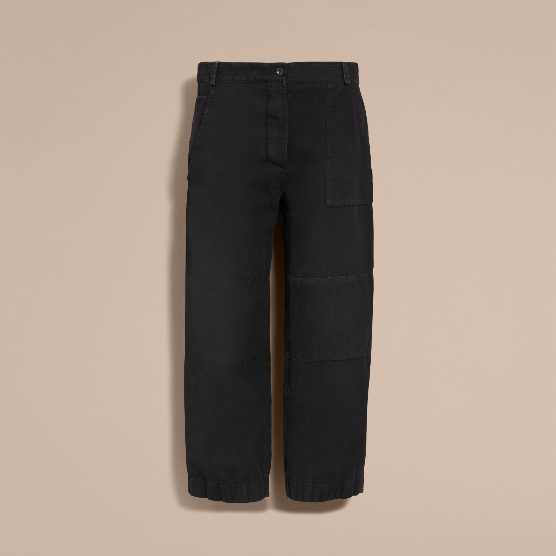 Ramie Cotton Cropped Workwear Trousers in Black - Women | Burberry - gallery image 4