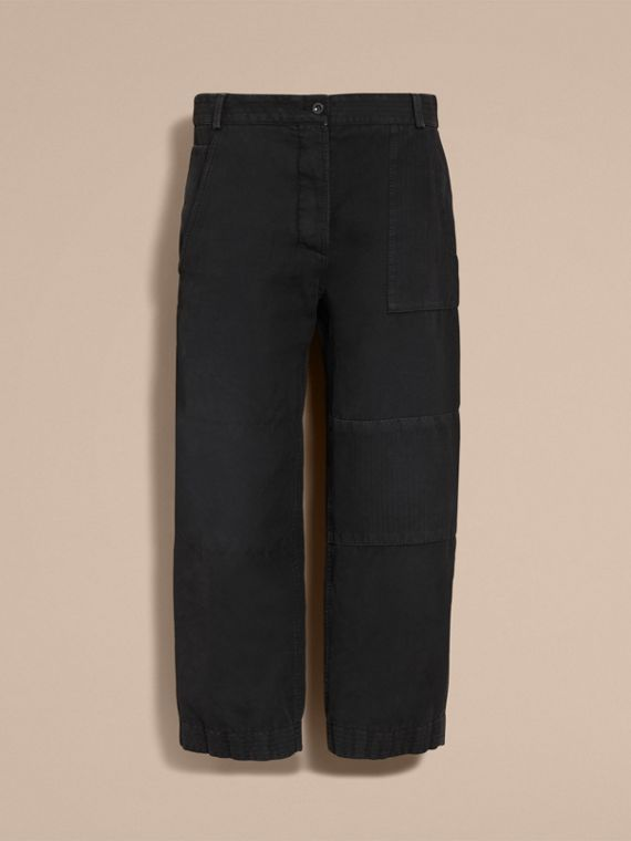 Ramie Cotton Cropped Workwear Trousers in Black - Women | Burberry - cell image 3
