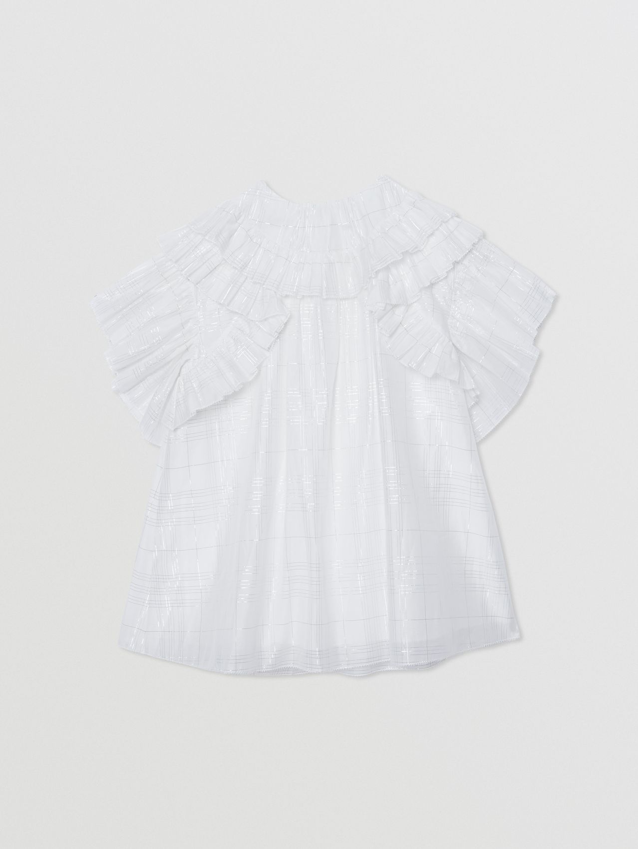 Ruffle Detail Metallic Check Cotton Silk Dress in White