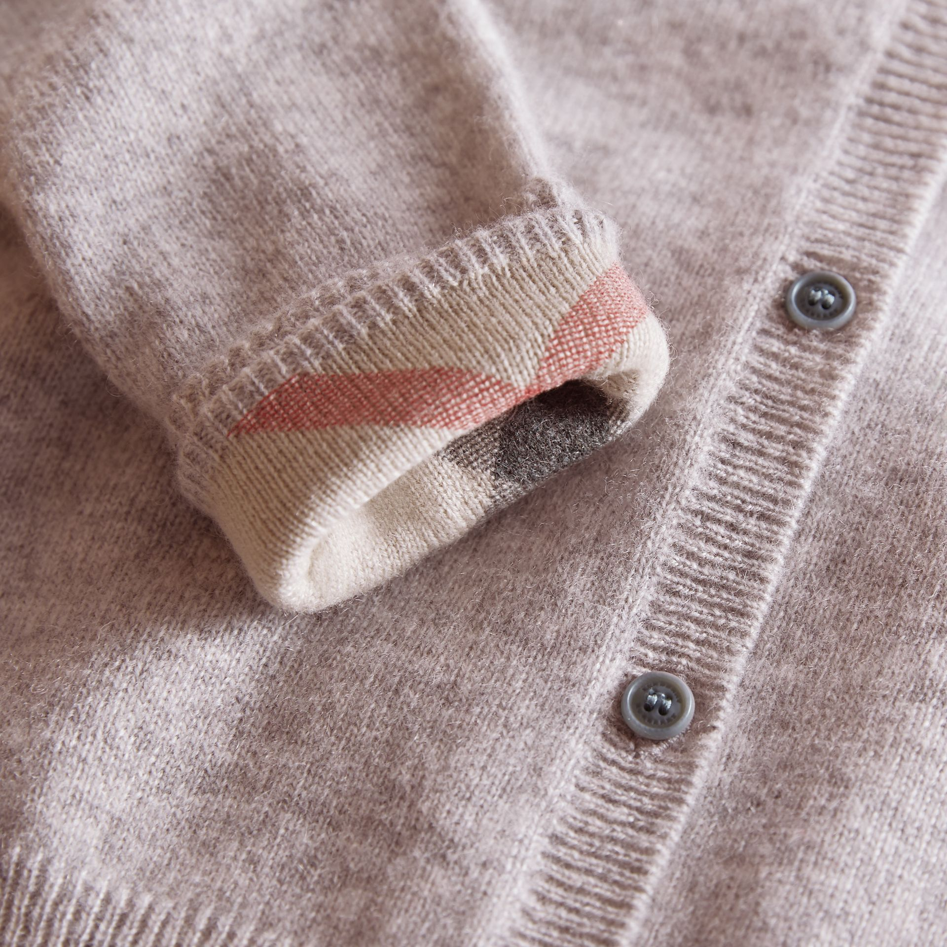 Check Detail Cashmere Cardigan in Light Grey Melange - Girl | Burberry - gallery image 2