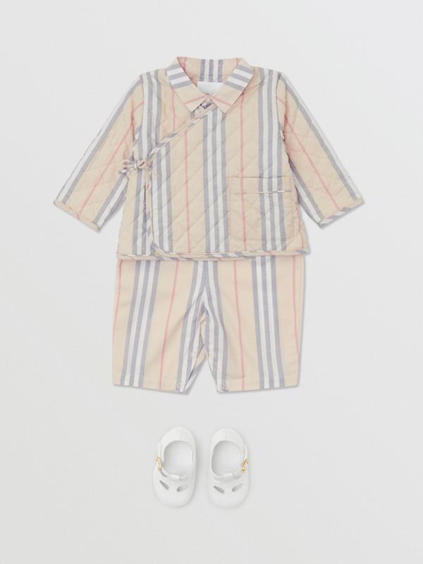 Chaqueta cruzada en algodón acolchado a rayas Icon Stripe (Piedra Pálido) - Niños | Burberry - cell image 2