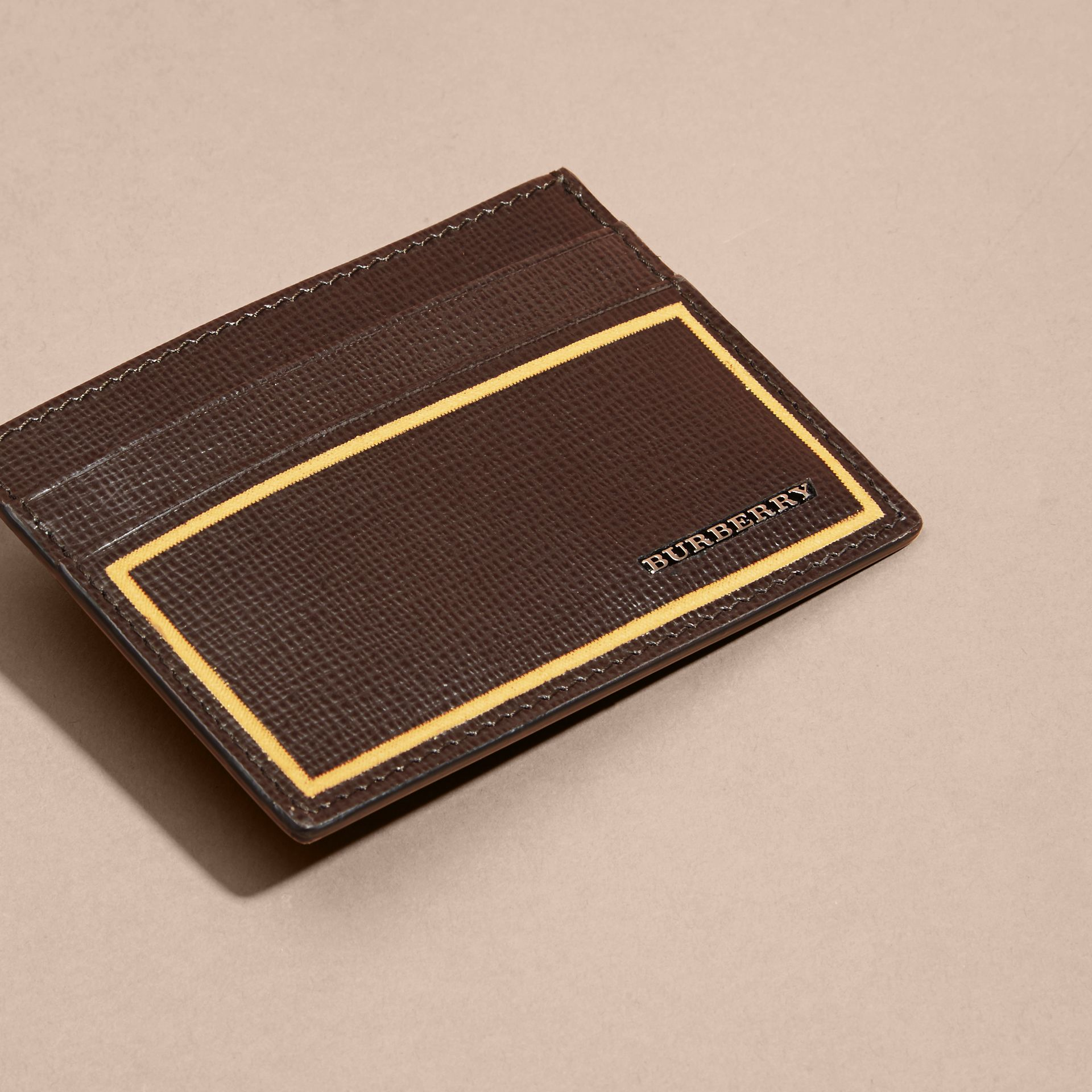 Border Detail London Leather Card Case Peppercorn - gallery image 5