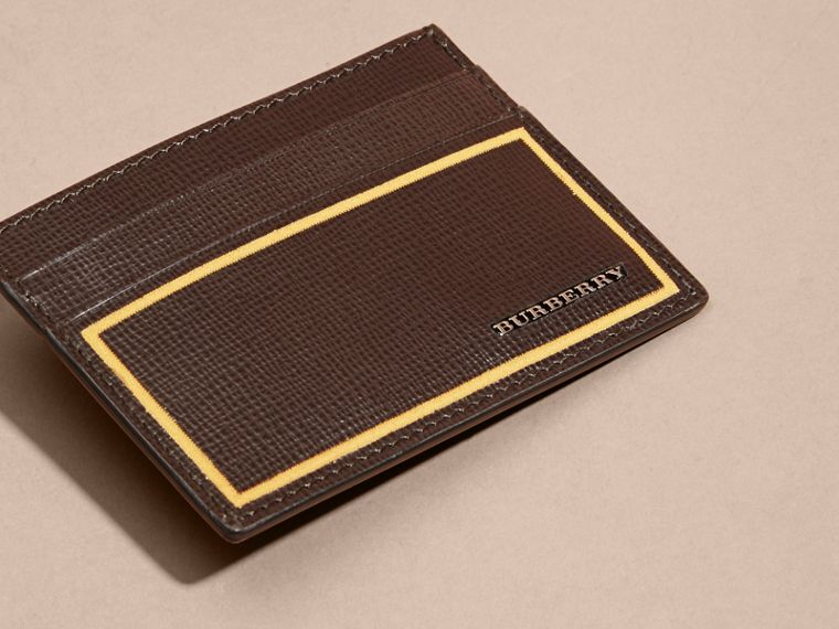 Border Detail London Leather Card Case in Peppercorn - cell image 4
