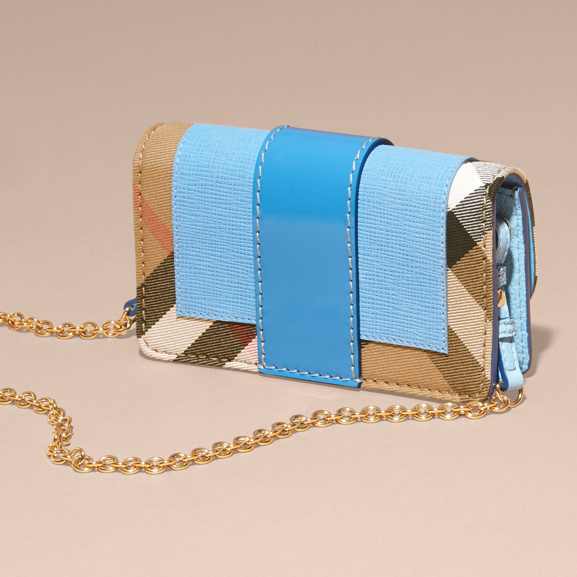 Bright mineral blue The Mini Buckle Bag in Leather and House Check Bright Mineral Blue - gallery image 5