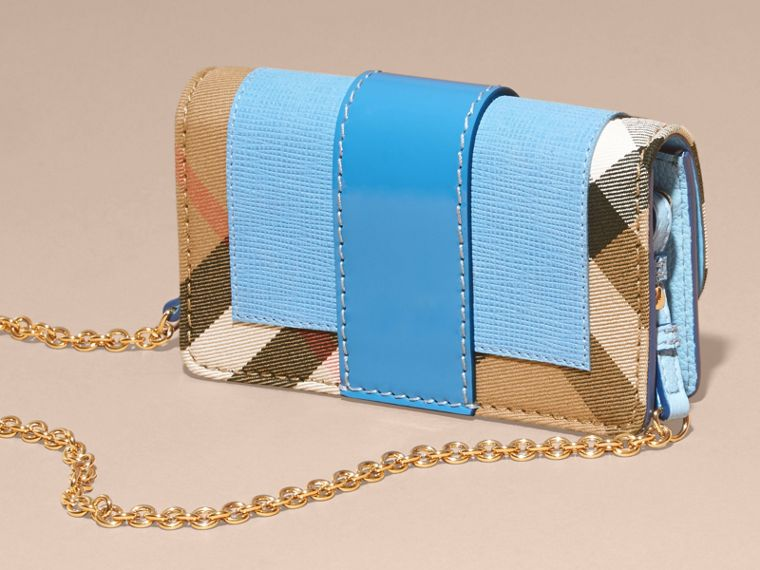 Bright mineral blue The Mini Buckle Bag in Leather and House Check Bright Mineral Blue - cell image 4