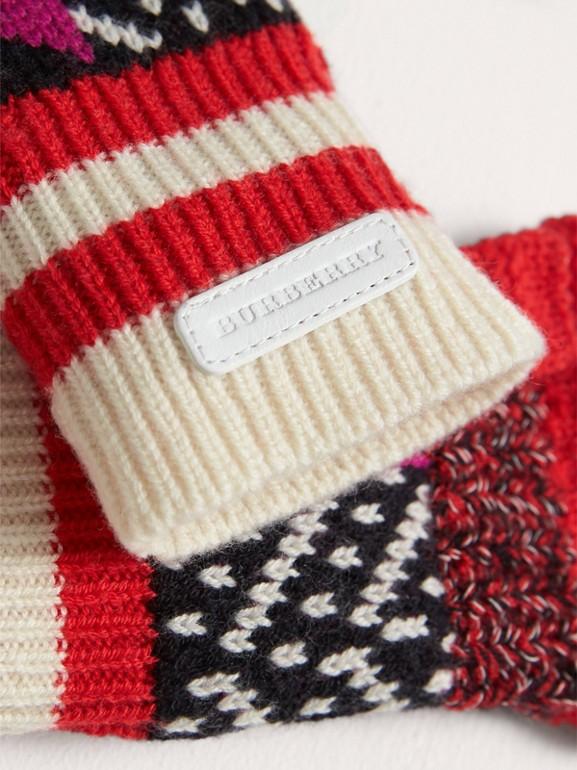 Перчатки без пальцев из кашемира и шерсти (Армейский Ярко-красный) | Burberry - cell image 1