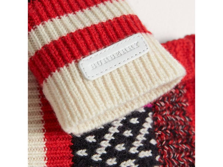 Patterned Wool Cashmere Fingerless Gloves in Military Red | Burberry - cell image 1