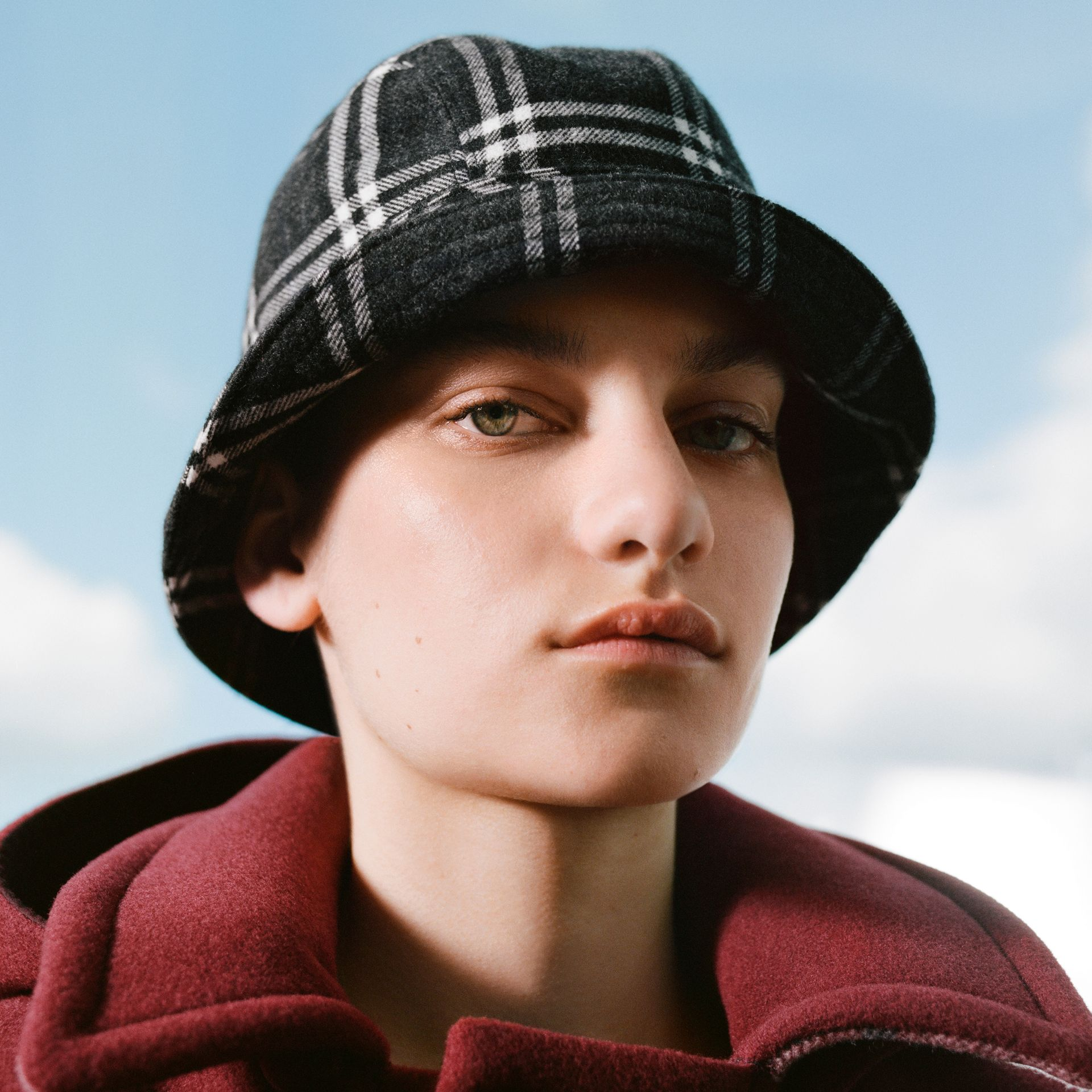 Gosha x Burberry Check Flannel Bucket Hat in Charcoal | Burberry - gallery image 1