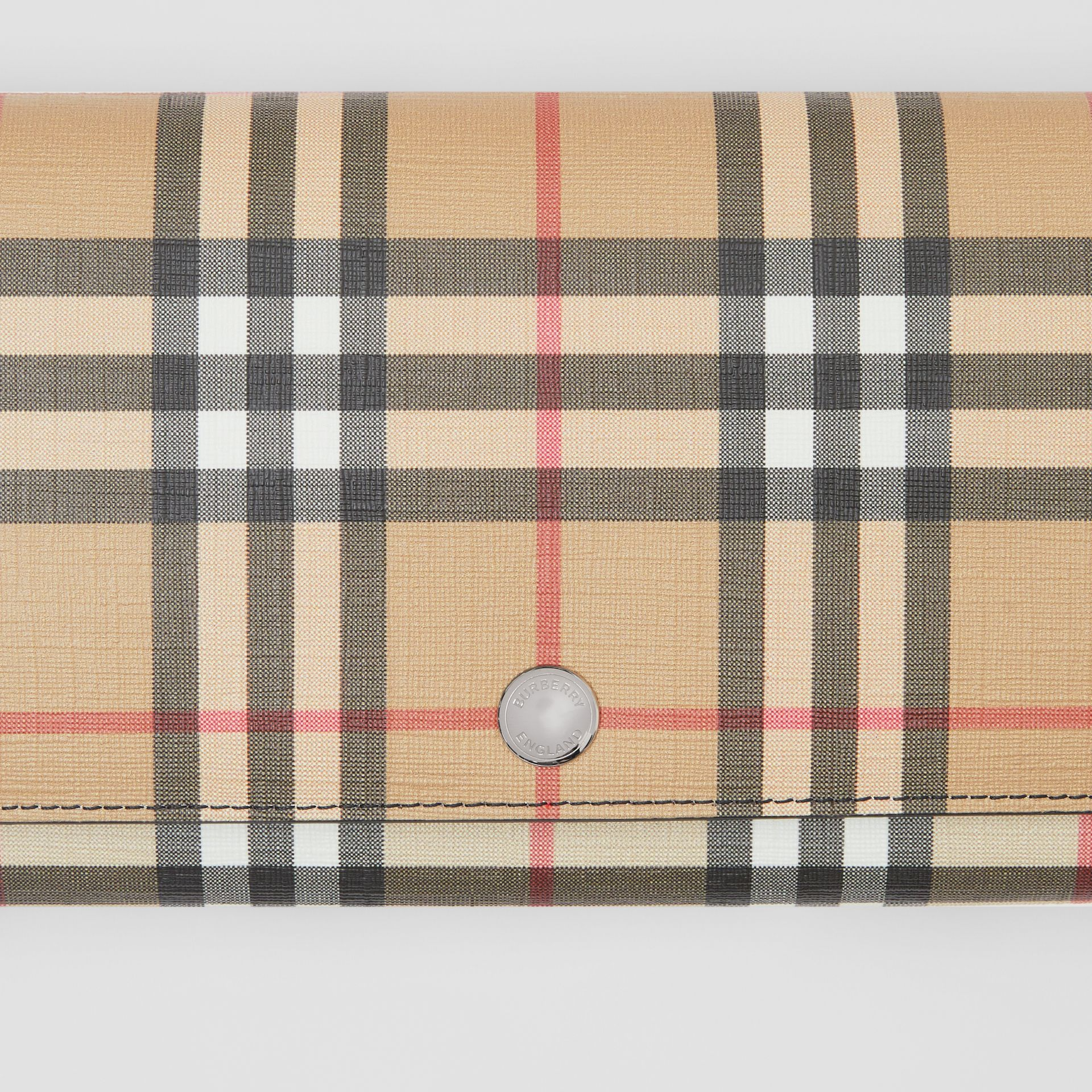 Vintage Check E-canvas Wallet with Detachable Strap in Black - Women | Burberry Singapore - gallery image 1