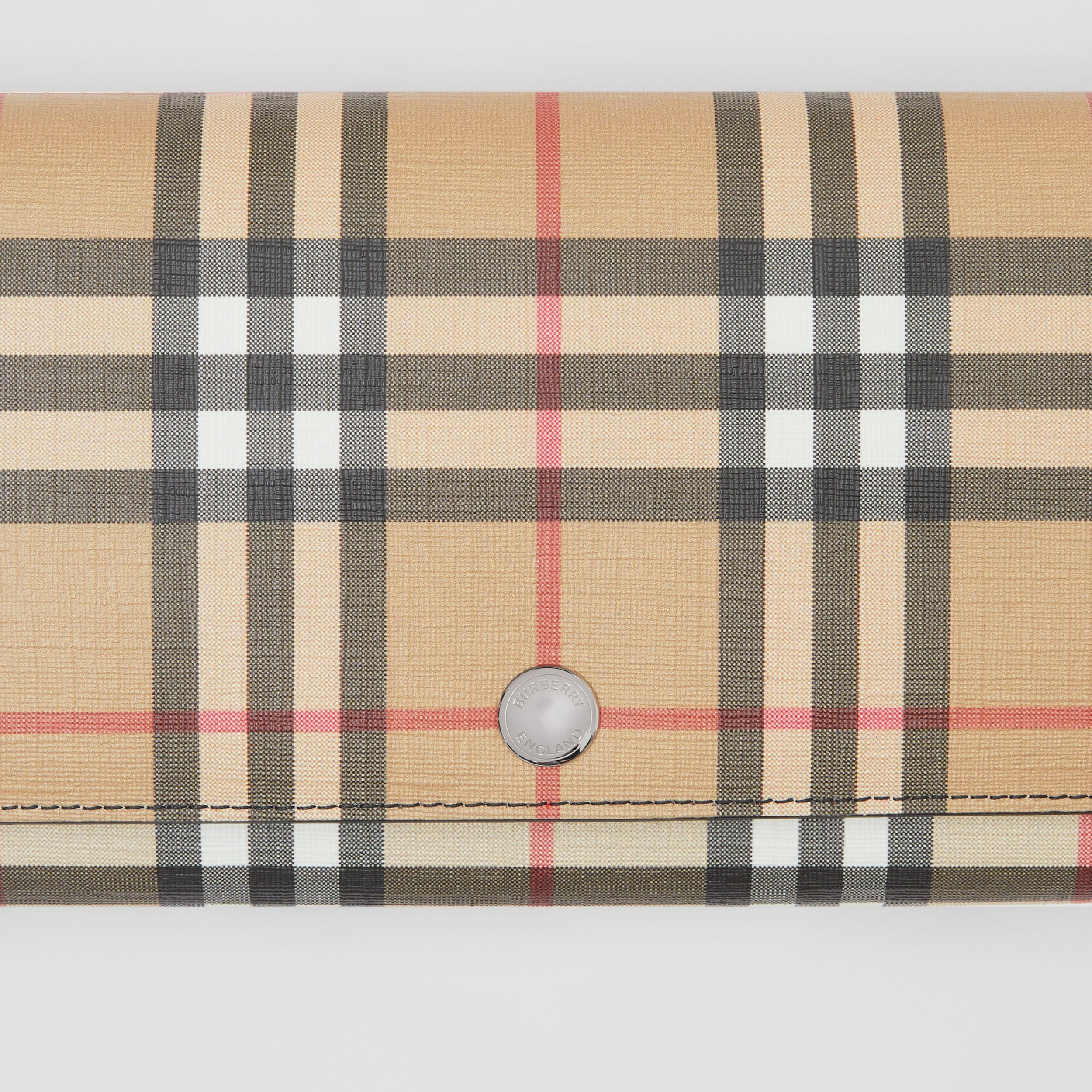Vintage Check E-canvas Wallet with Detachable Strap in Black - Women | Burberry - 2