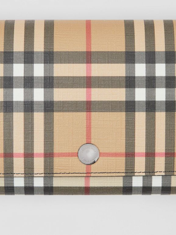 Vintage Check E-canvas Wallet with Detachable Strap in Black - Women | Burberry Canada - cell image 1