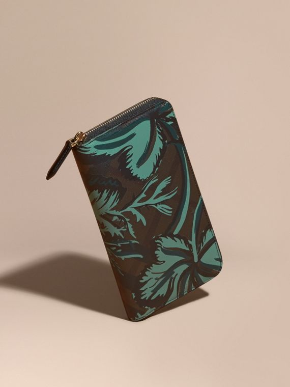Floral Print London Check Ziparound Wallet Chocolate