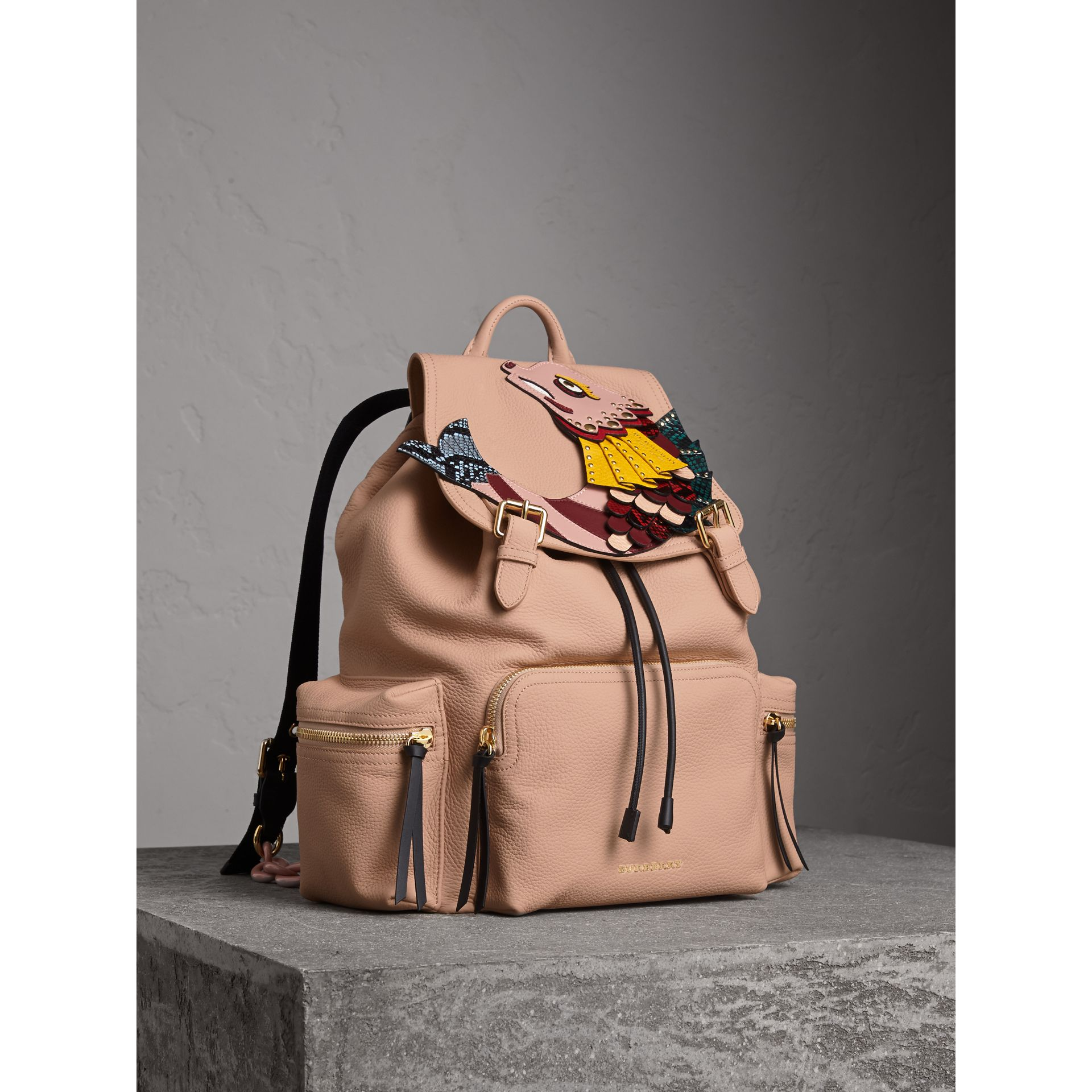 The Large Rucksack in Deerskin with Beasts Motif in Pale Apricot - Women | Burberry - gallery image 6