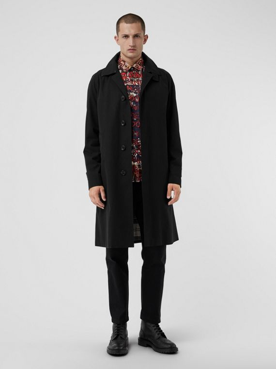 Tropical Gabardine Car Coat in Black