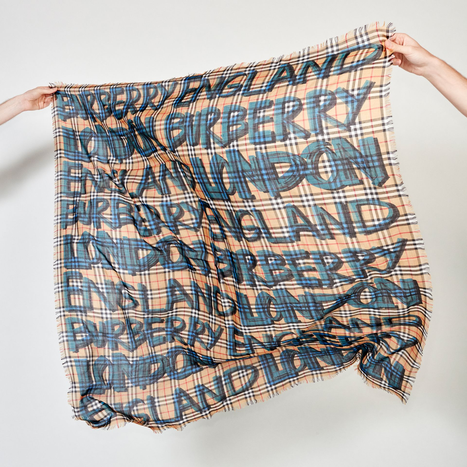 Graffiti Print Check Wool Silk Large Square Scarf in Brilliant Blue | Burberry - gallery image 4