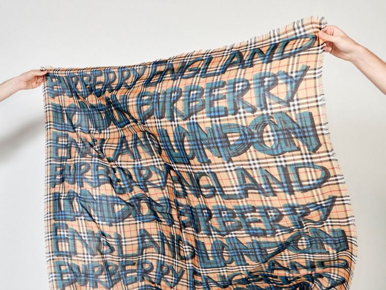 Graffiti Print Check Wool Silk Large Square Scarf in Brilliant Blue | Burberry - cell image 4
