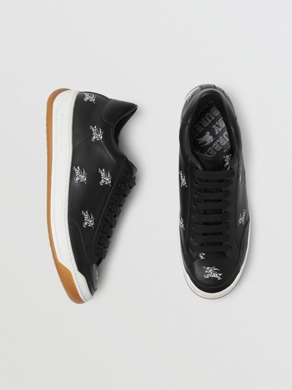 Equestrian Knight Embroidered Leather Sneakers in Black