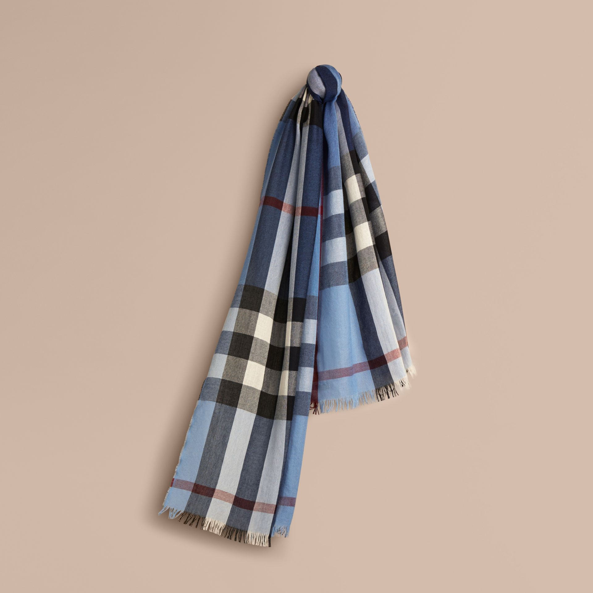 Lightweight Check Wool Cashmere Scarf Pale Sky Blue - gallery image 1