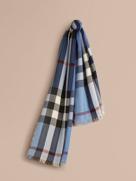 Lightweight Check Wool Cashmere Scarf Pale Sky Blue