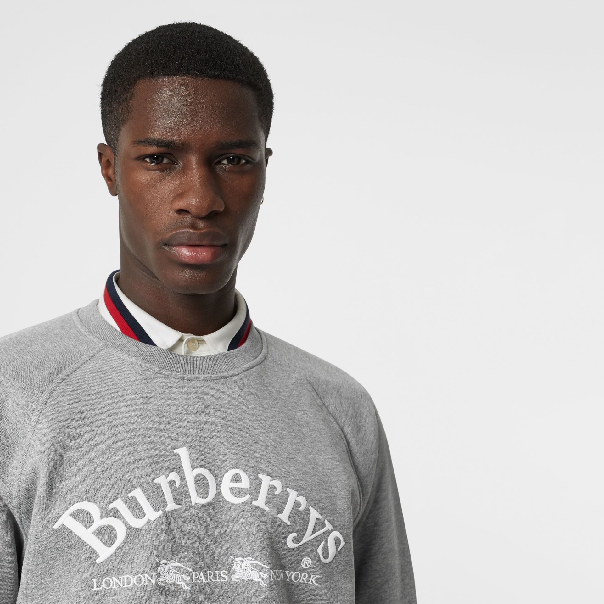 Embroidered Archive Logo Jersey Sweatshirt in Pale Grey Melange - Men | Burberry United Kingdom - gallery image 1