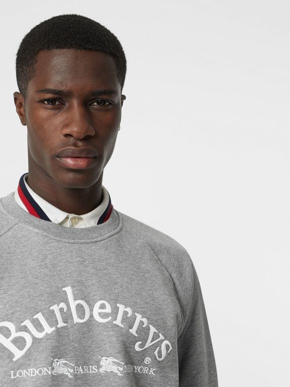 Embroidered Archive Logo Jersey Sweatshirt in Pale Grey Melange - Men | Burberry - cell image 1