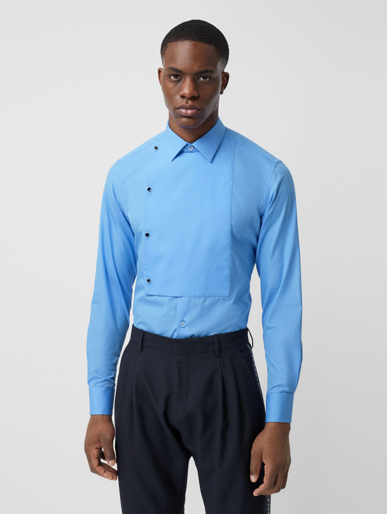 Slim Fit Bib Detail Cotton Poplin Dress Shirt in Mid Blue
