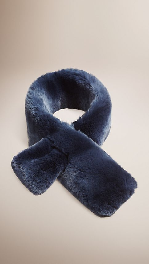 Light steel blue Rabbit Fur Collar - Image 1