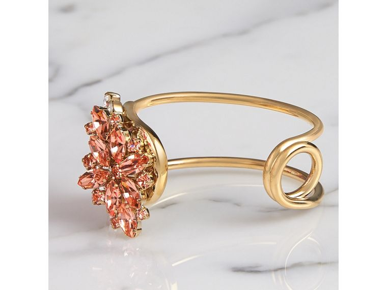 Crystal Daisy Brass Cuff in Coral Pink - Women | Burberry United Kingdom - cell image 2