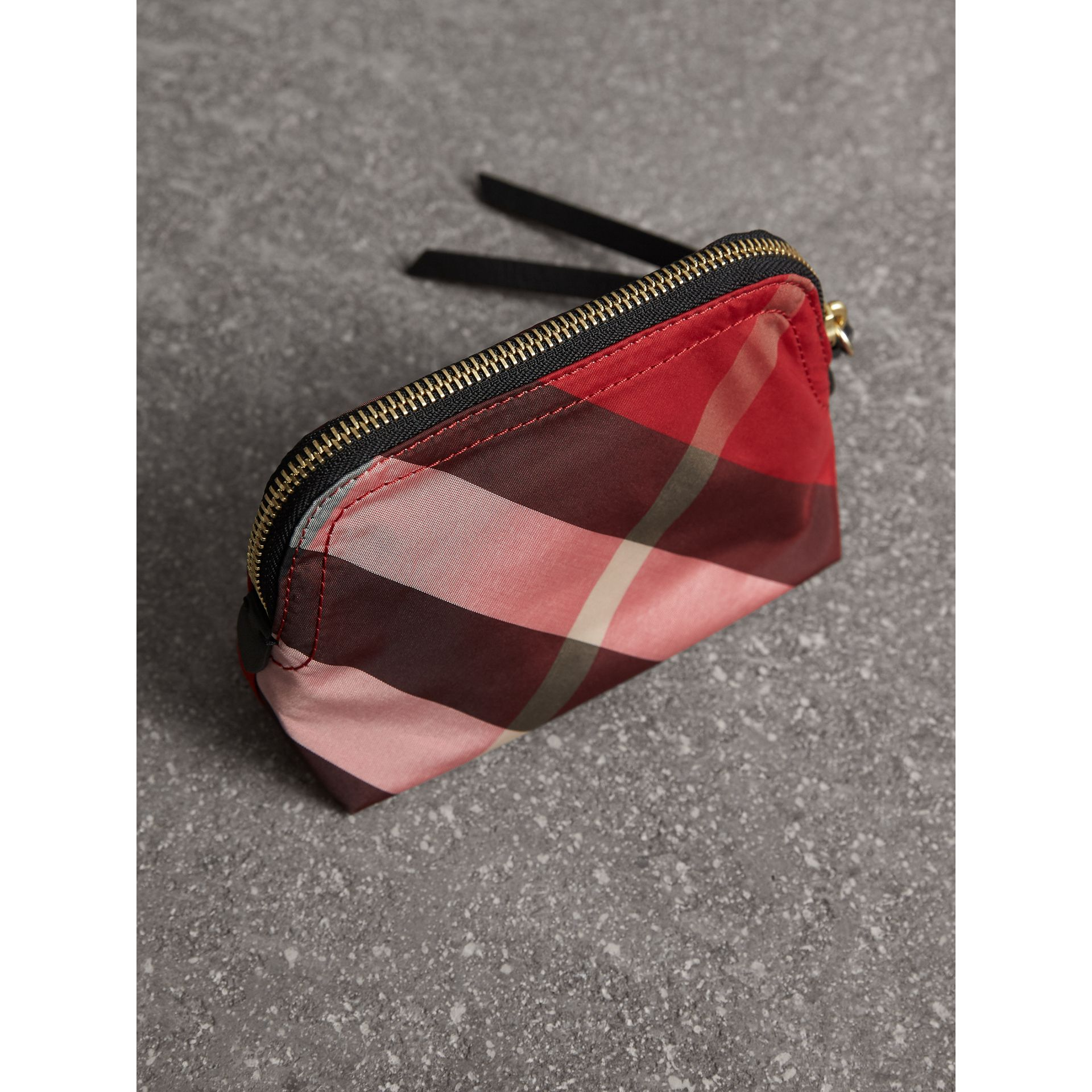 Small Zip-top Check Pouch in Parade Red - Women | Burberry Singapore - gallery image 3