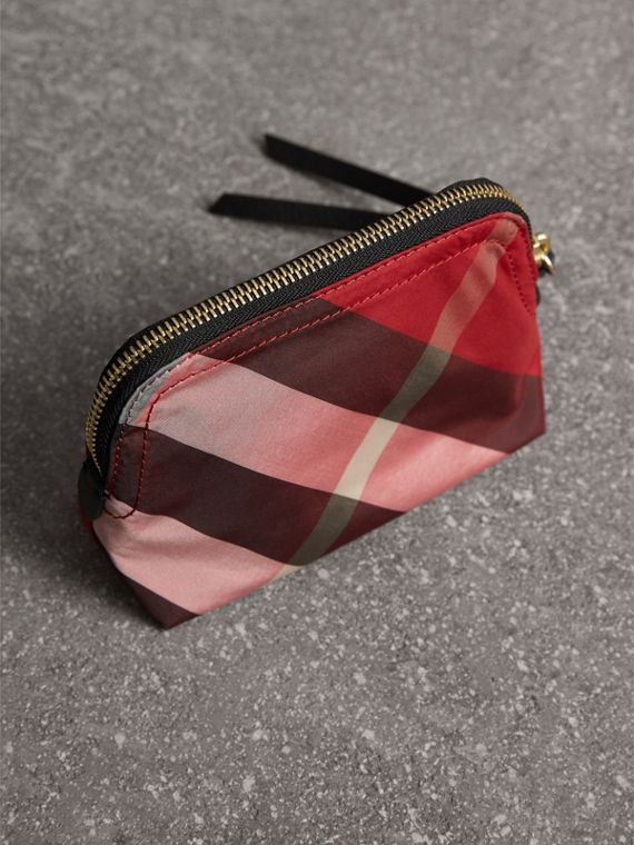 Small Zip-top Check Pouch in Parade Red - Women | Burberry Singapore - cell image 2