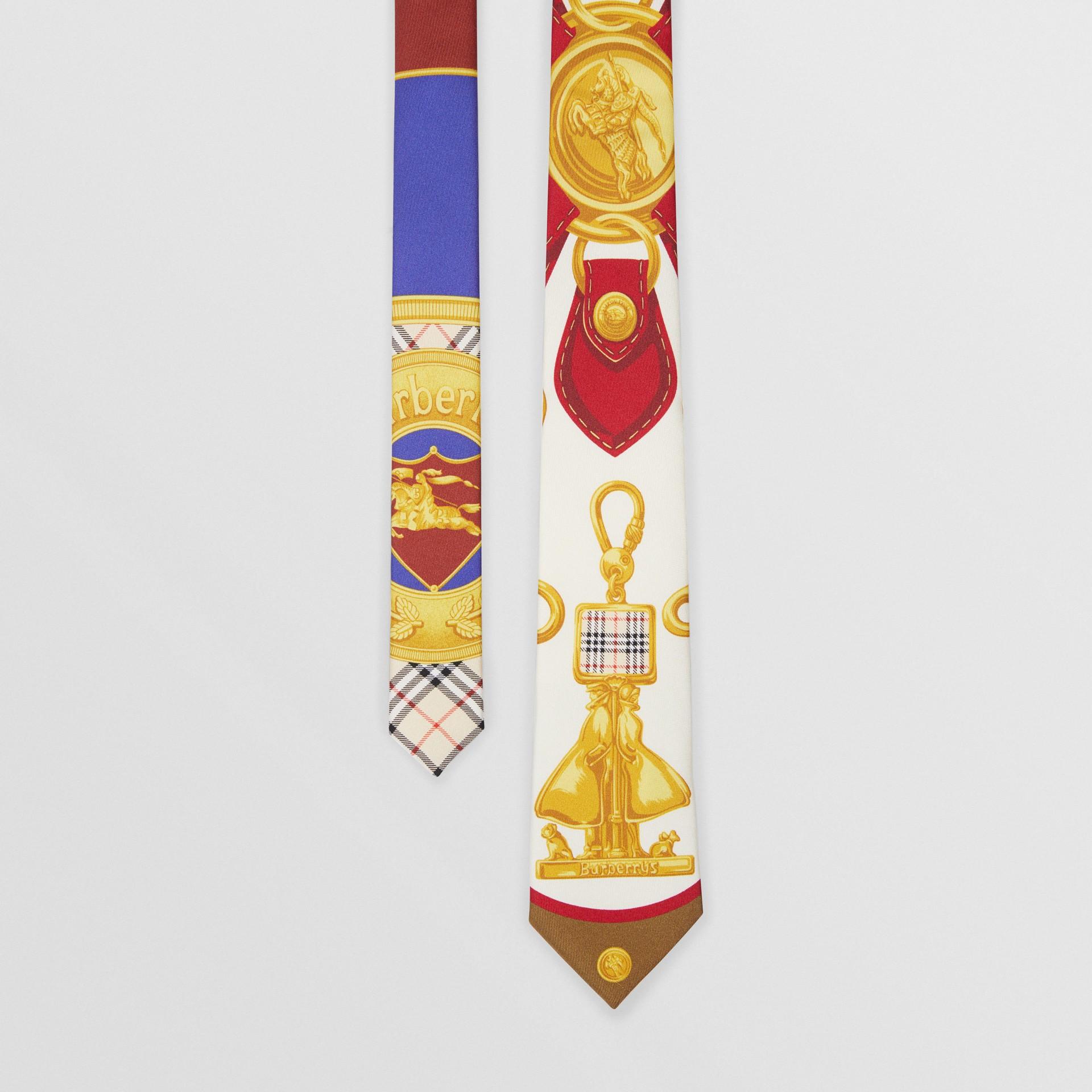 Modern Cut Archive Scarf Print Silk Tie in Burgundy - Men | Burberry - gallery image 0