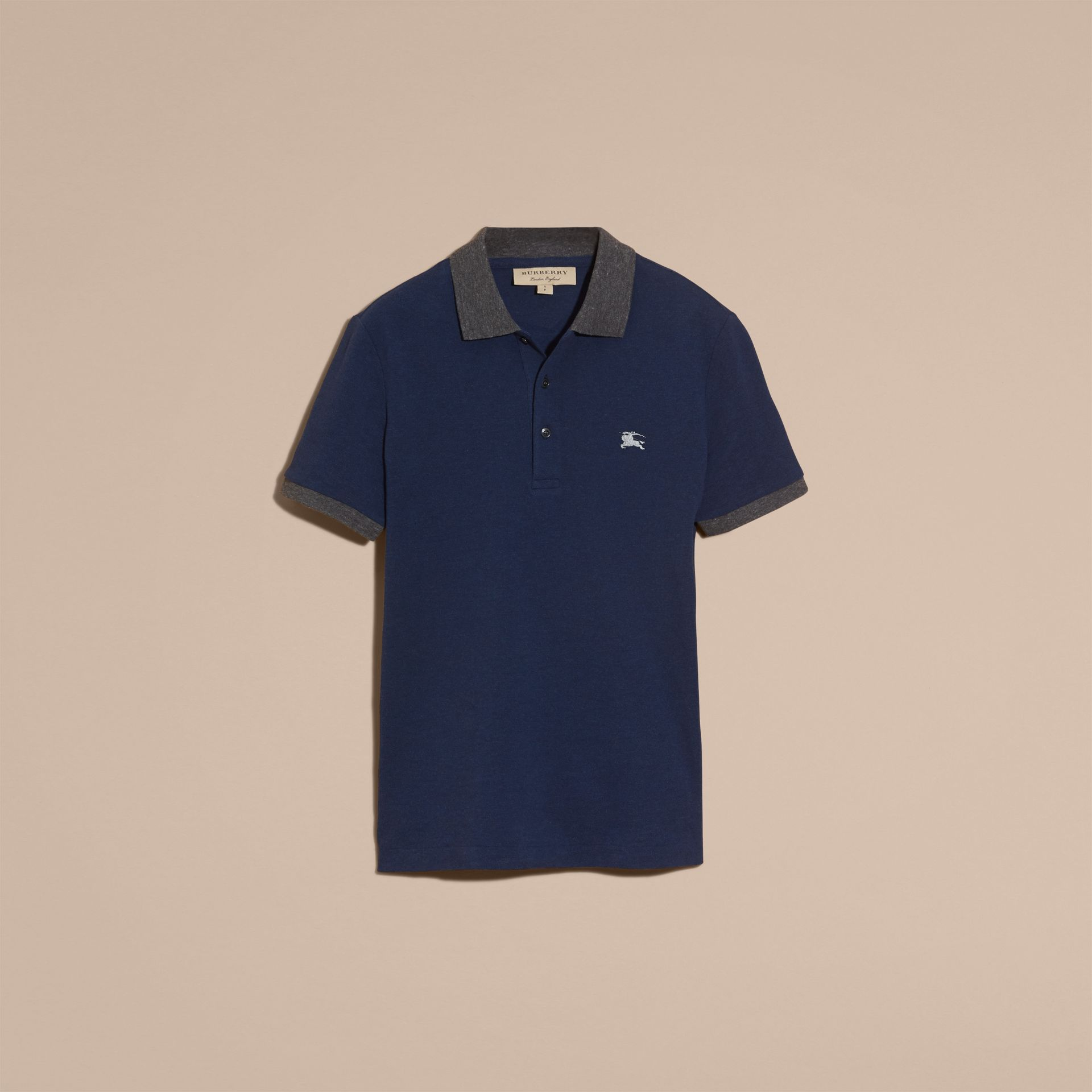 Navy melange Contrast Colour Detail Cotton Piqué Polo Shirt Navy Melange - gallery image 4