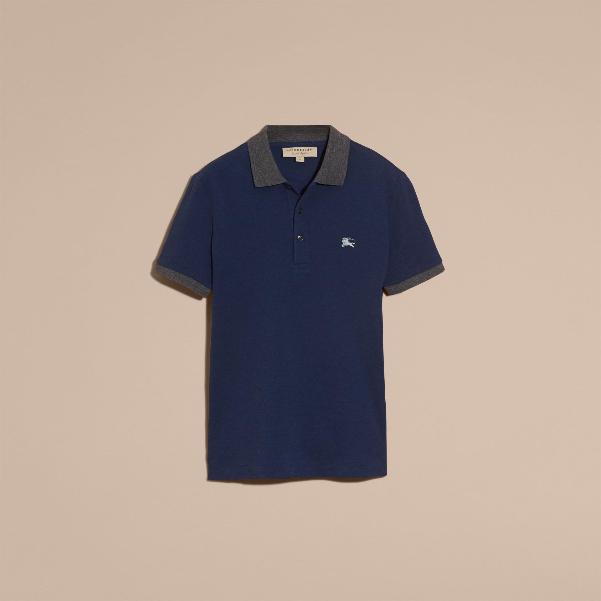 Navy mélange Polo in cotone piqué con dettaglio dal colore a contrasto Navy Mélange - immagine della galleria 4