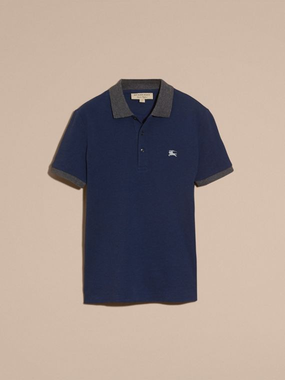 Navy melange Contrast Colour Detail Cotton Piqué Polo Shirt Navy Melange - cell image 3