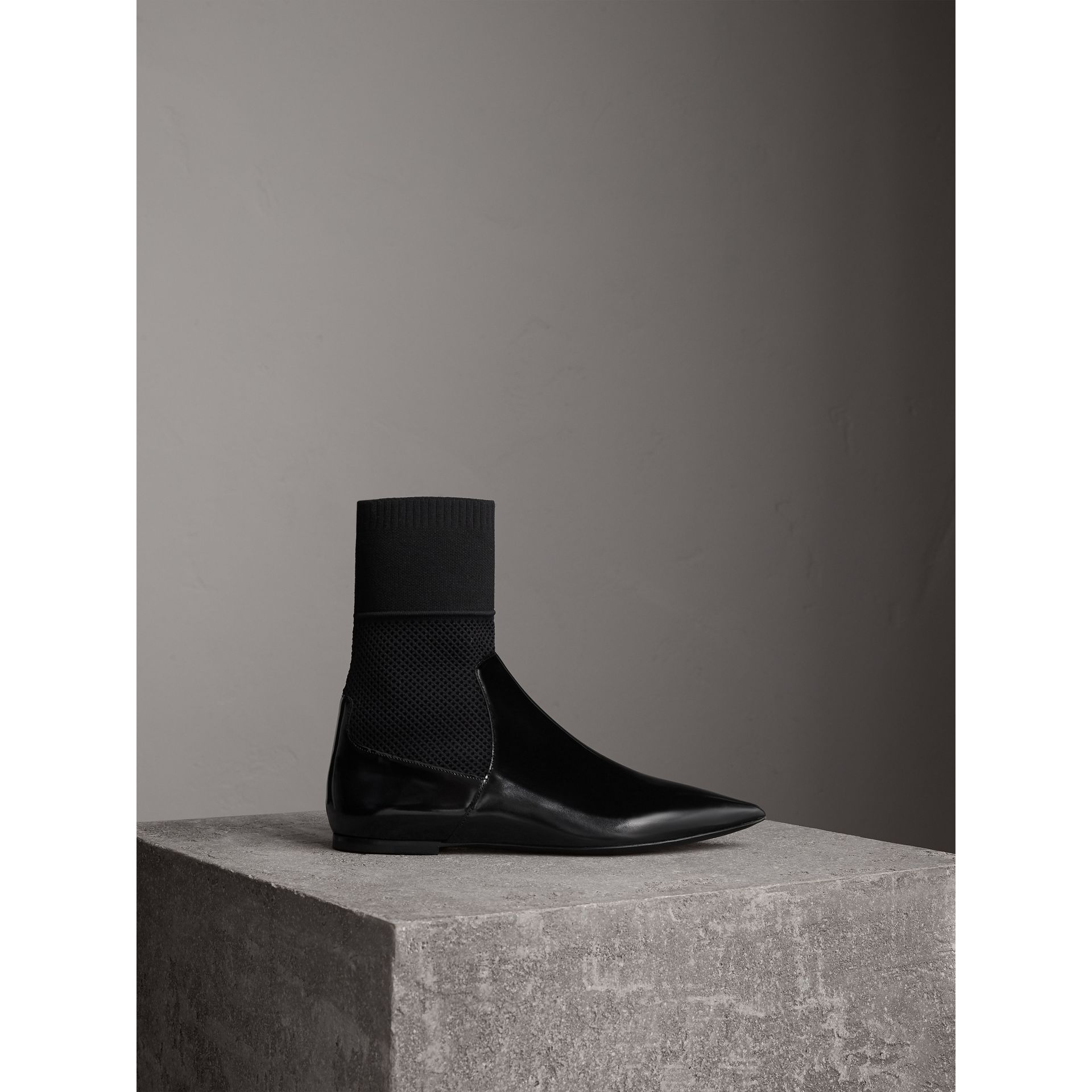 Patent Leather and Knitted Mesh Ankle Boots in Black - Women | Burberry United States - gallery image 1