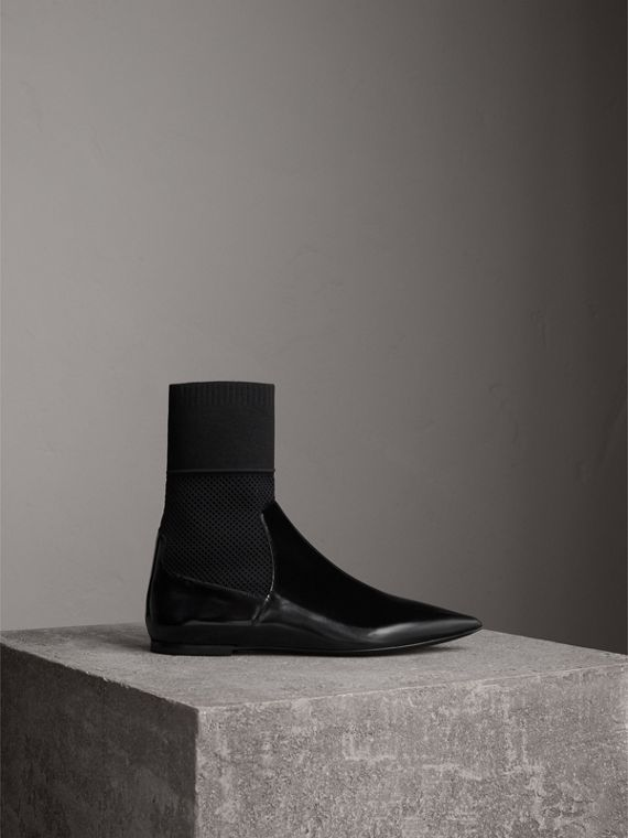 Patent Leather and Knitted Mesh Ankle Boots in Black