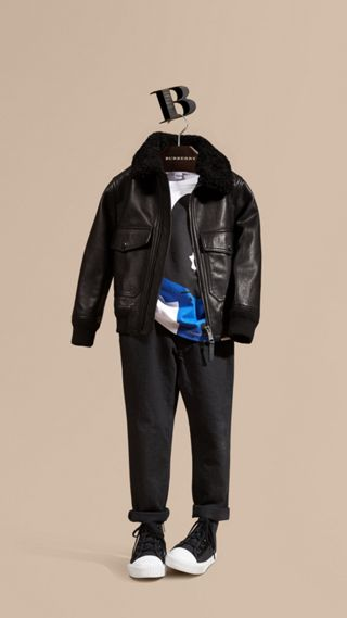 Leather Blouson with Detachable Shearling Collar