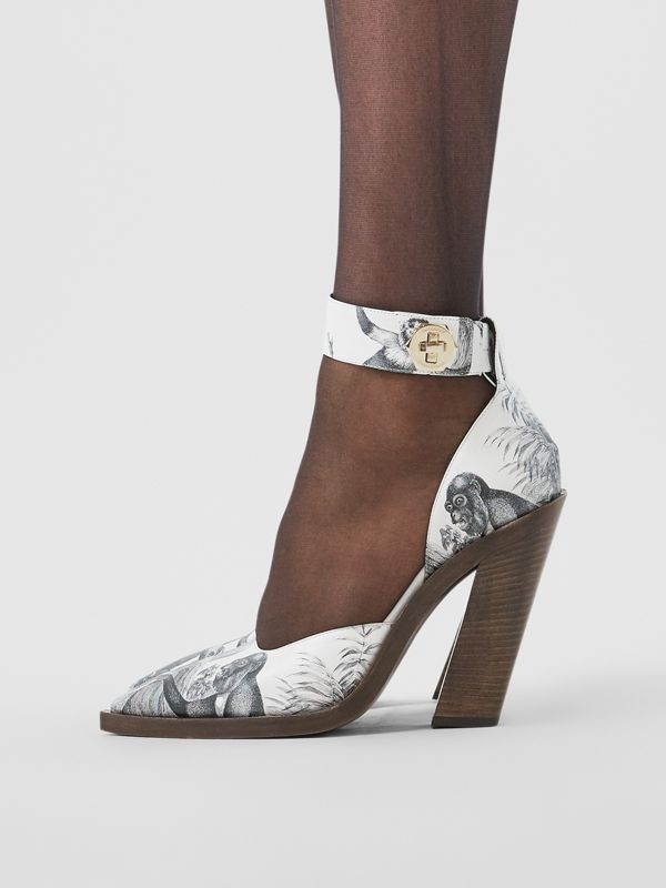 Monkey Print Leather Point-toe Pumps in Black/white - Women | Burberry United Kingdom - cell image 2